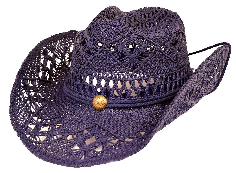 a4f3c914f90 Women s Western Cowboy Hat with Rope Tie Down - Navy Blue - CG12MXZMHA6 -  Hats   Caps