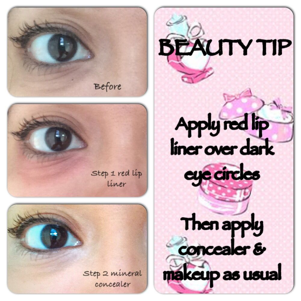 Beauty tip - Conceal under eye dark circles with red lipstick/lip liner