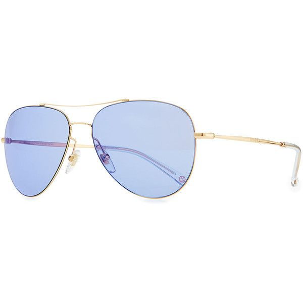 5d5b41e81 Gucci Flash-Lens Aviator Sunglasses (1.575 RON) ❤ liked on Polyvore  featuring accessories, eyewear, sunglasses, blue lens sunglasses, gucci  glasses, ...