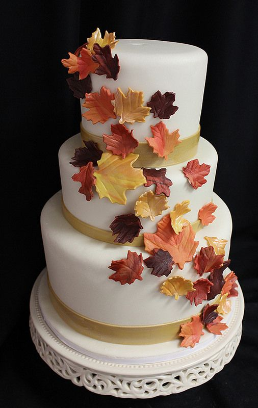 Golden Fall Leaves Cascade Wedding Cake Fall Leaf Cake Fall Wedding Cakes Wedding Cakes Leaves