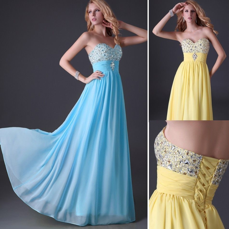 Women Long Chiffon Formal Evening Party Ball Gown Prom Bridesmaid ...