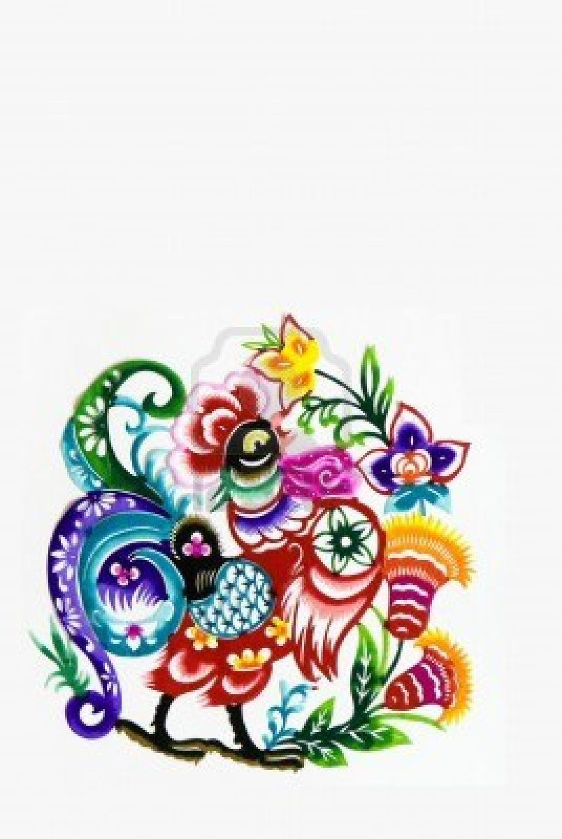 paper cutting.Chinese zodiac animals~rooster