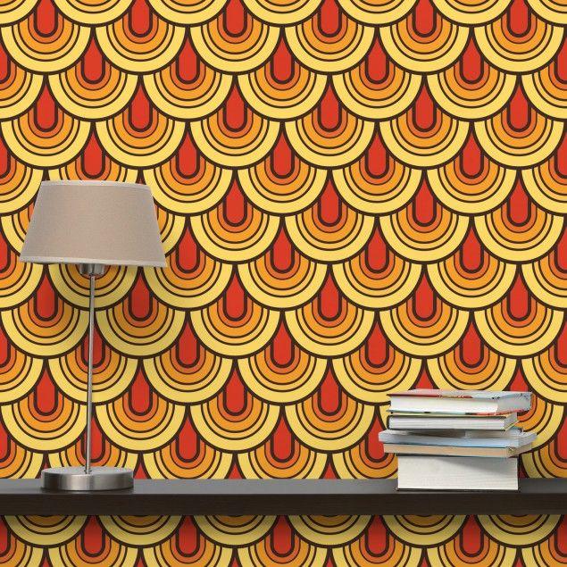 mustertapete retro schuppen vliestapete quadrat 70er jahre tapete hippie ethno style. Black Bedroom Furniture Sets. Home Design Ideas