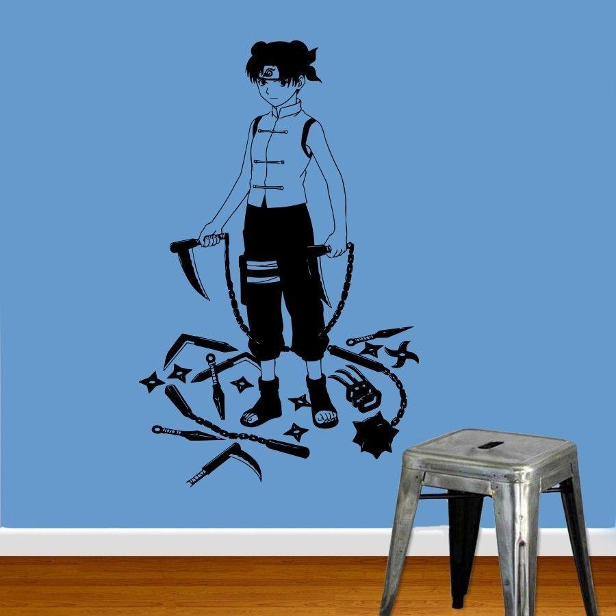 Anime warrior ninja with weapon manga wall vinyl sticker