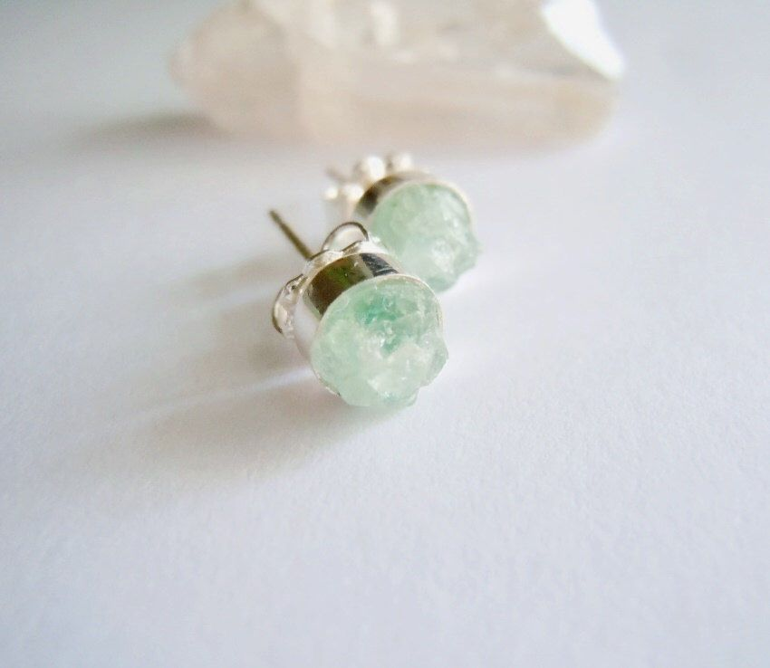 Aquamarine Stud Earrings- Natural Raw Gemstone Cluster - Sterling Silver - Hand fabricated Artisan Jewelry by NaturalGlam on Etsy https://www.etsy.com/listing/208981335/aquamarine-stud-earrings-natural-raw