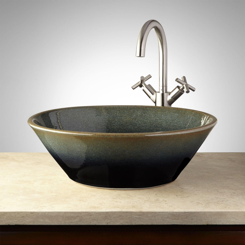 Hounsfield Hand Glazed Pottery Vessel Sink   Midnight Blue