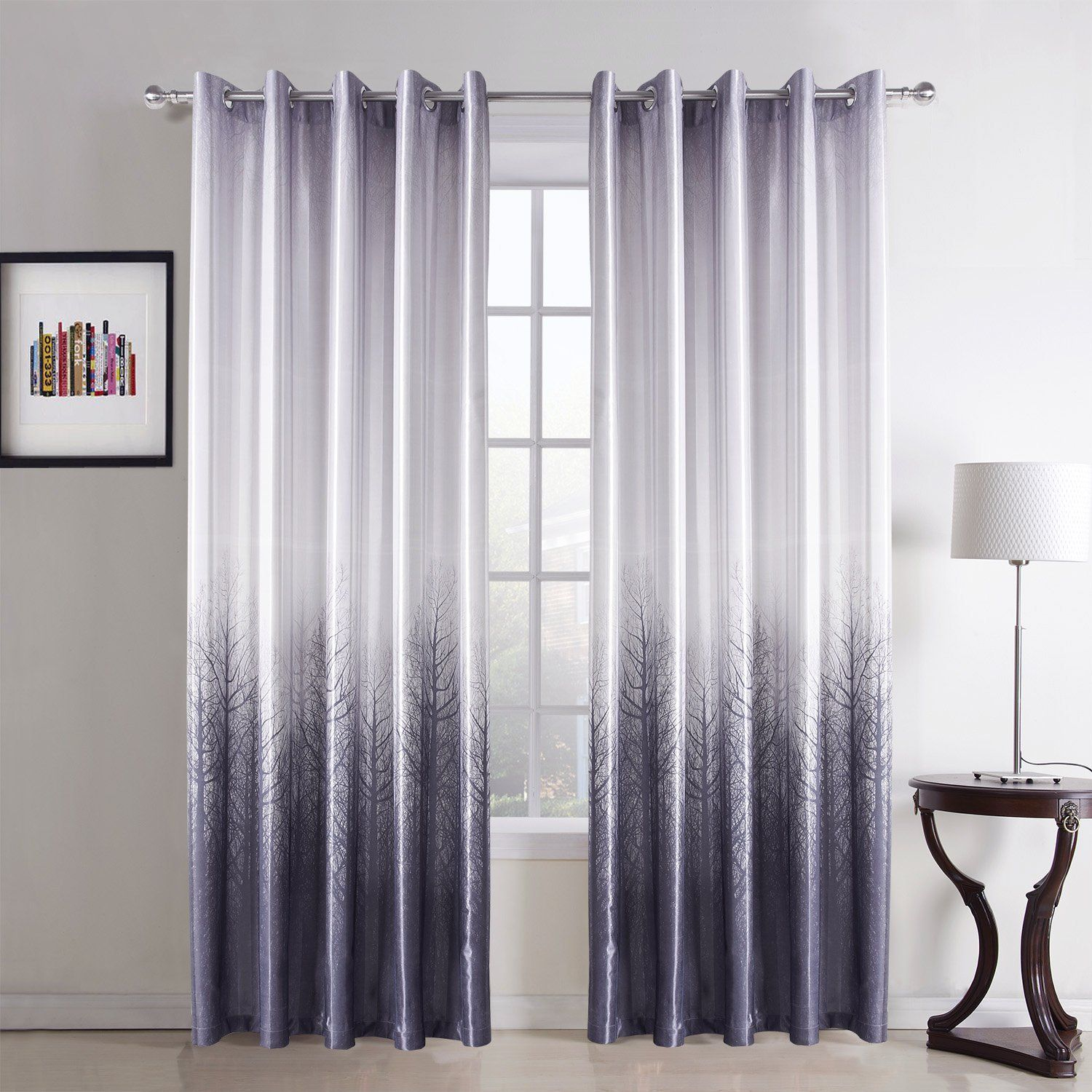 Amazon Leyden Grommet Top Minimalist Light Purple Forest Print