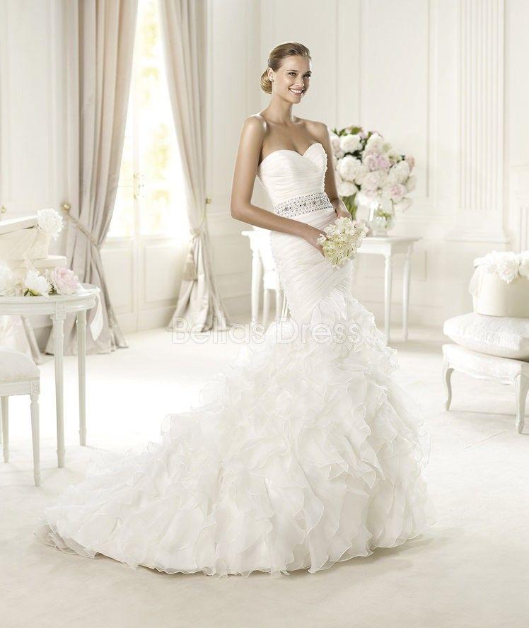 Elegant Organza Mermaid Sweetheart Chapel Train Winter Wedding ...