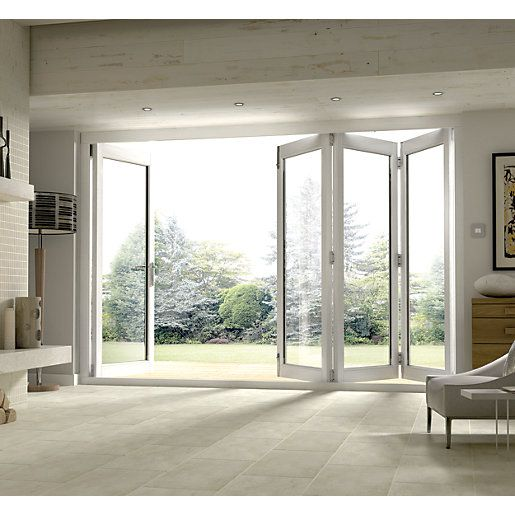 Wickes Burman Slimline Finished Bi Fold Door White 10ft Wide Kitchen Patio Doors Patio Doors Folding Patio Doors