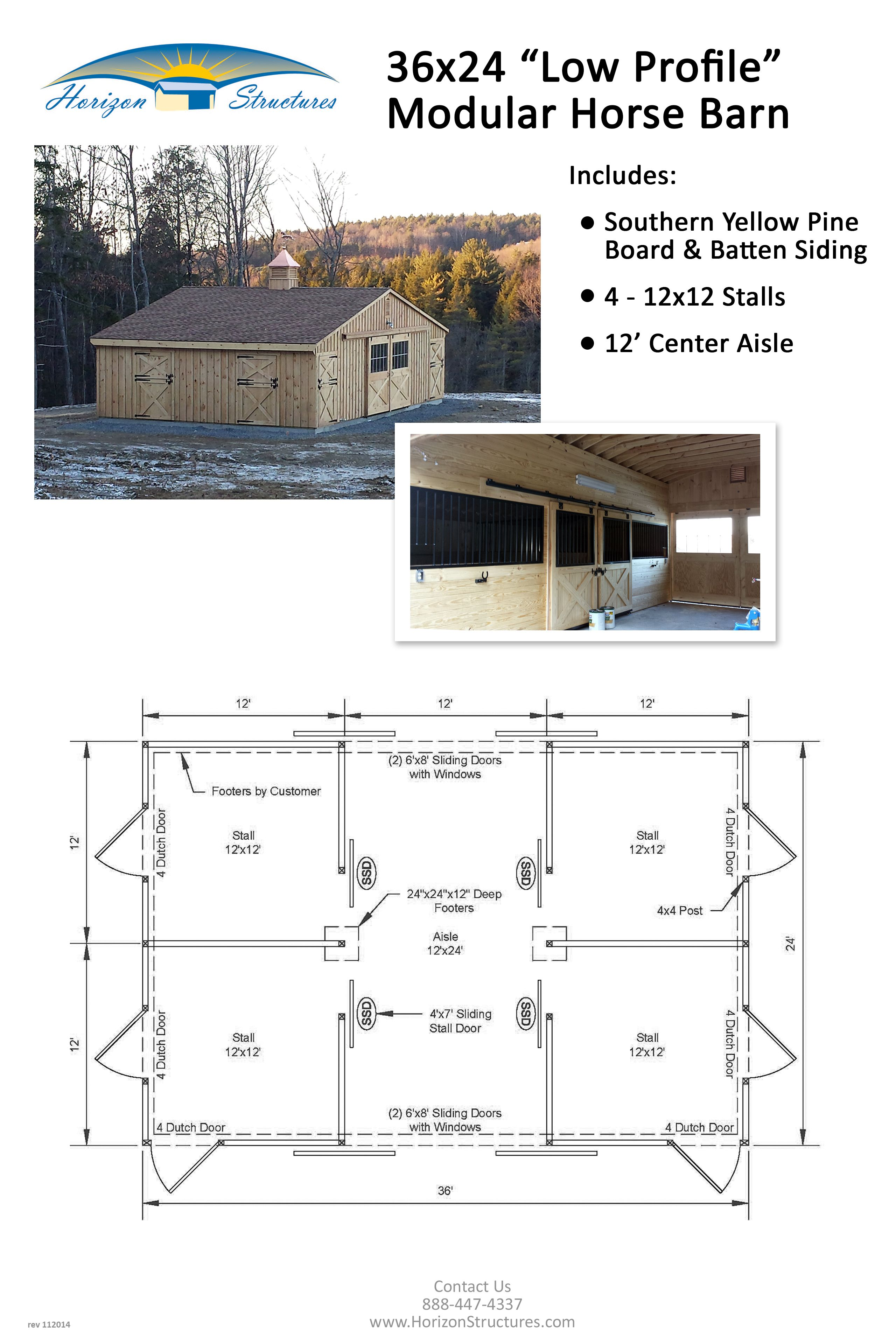 24x36 4 stall modular horse barn delivered in 2 pre built for Horse barn layouts floor plans