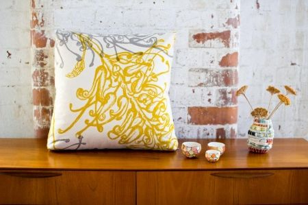 LIVING ROOM: Grevillea cushion in mustard and greylead - hardtofind.