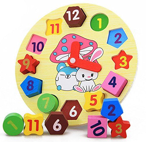 Place the numbered wooden shapes and turn the hand-children will develop fine motor skills while exploring numbers, colors, and matching, too. The Read more http://shopkids.ca/toys-games/rabbit-wooden-shape-sorting-clock/