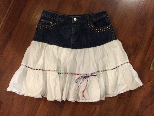 Up-Cycled Jean Skirt Misses Size 8 White Ruffled by reconstruKteD ...