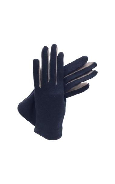 Two tone cloth glove - navy glove with taupe finger detail 80% lambswool 20% nylon washable one size