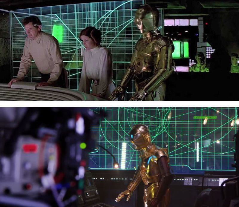 Image Comparison between Star Wars Movies 'A New Hope' (1977) & 'The Force Awakens' (2015)