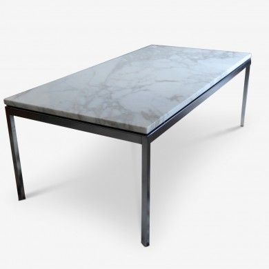 Table Basse Florence Knoll Marbre Calacatta Pieds En Chrome
