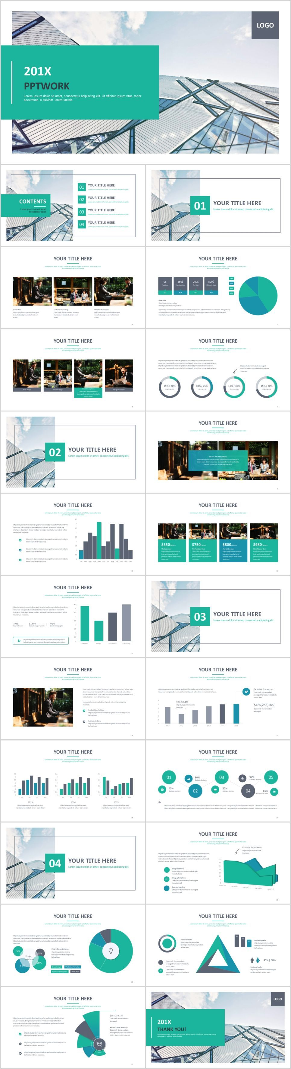 Best green charts report PowerPoint template