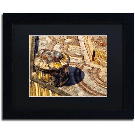 Trademark Fine Art Castillo de San Felipe del Morro 18 inch Canvas Art by CATeyes, Black Matte, Black Frame, Size: 16 x 20, Yellow