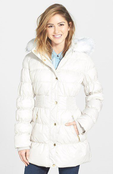 Laundry By Design Faux Fur Trim Hooded Quilted Coat Nordstrom