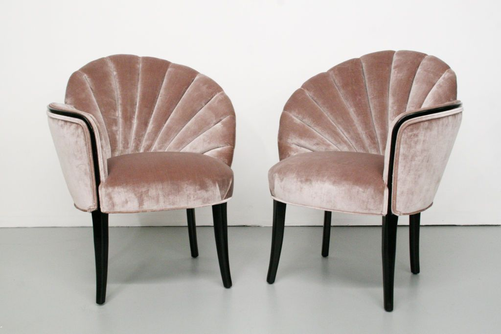 Pair Of 1920 S Art Deco Shell Back Boudoir Chairs 1stdibs Com Art Deco Furniture Deco Furniture Art Deco