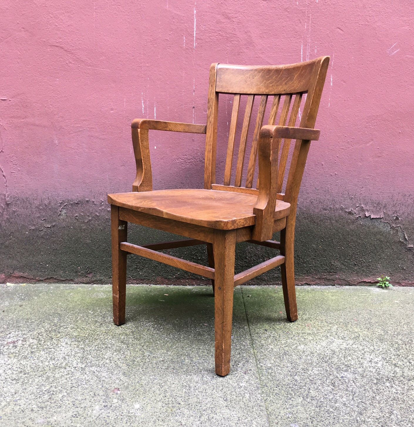 vintage oak banker s chair by Marble & Shattuck Chair Co retro