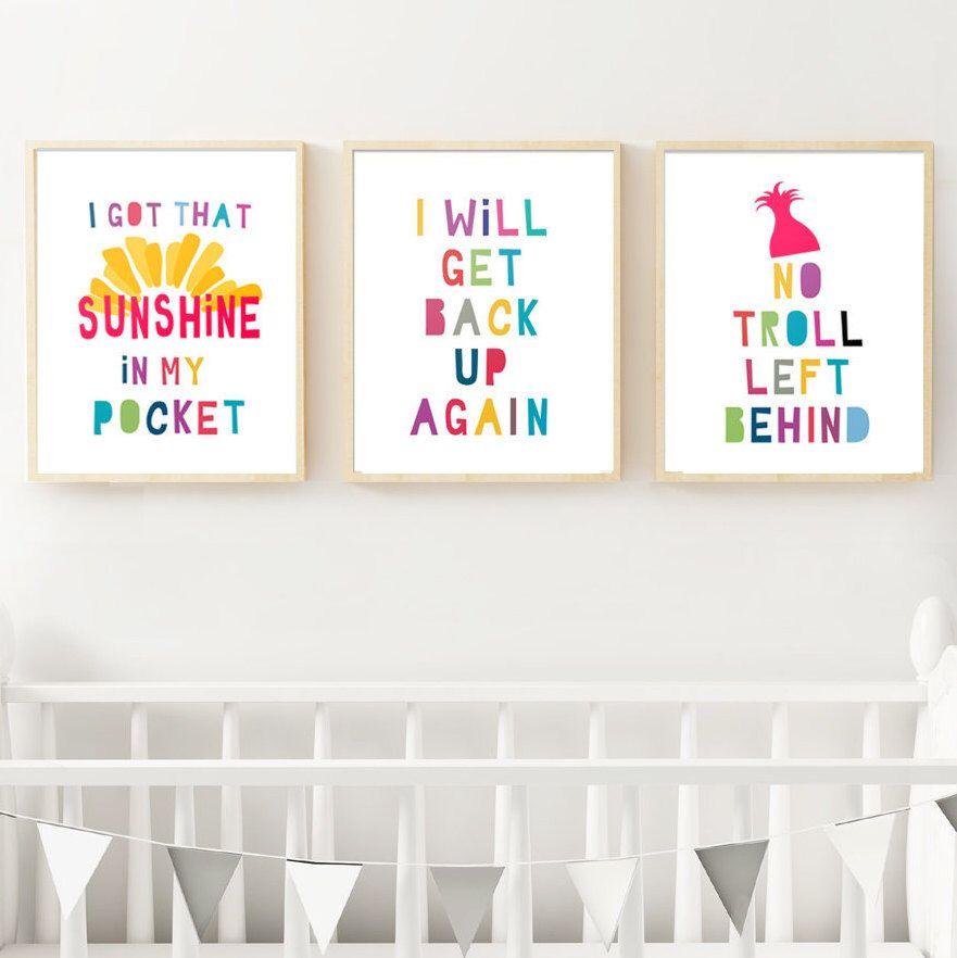 set of 3 trolls inspired pictures  trolls nursery theme