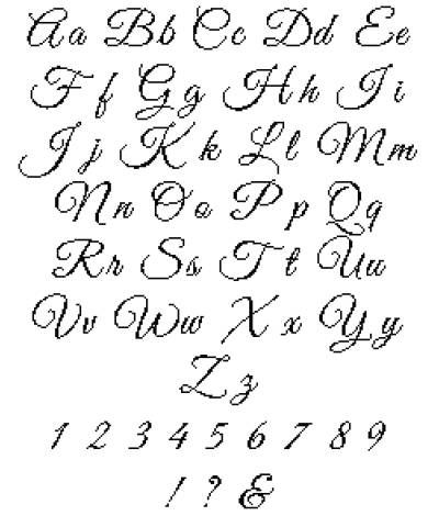 Hand Writing Cross Stitch Alphabet Pattern Written Cursive