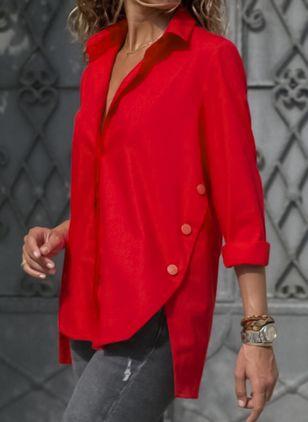 Lässige Kleidung Lange Ärmel Uni Kragen Blusen (1282255) #blusas