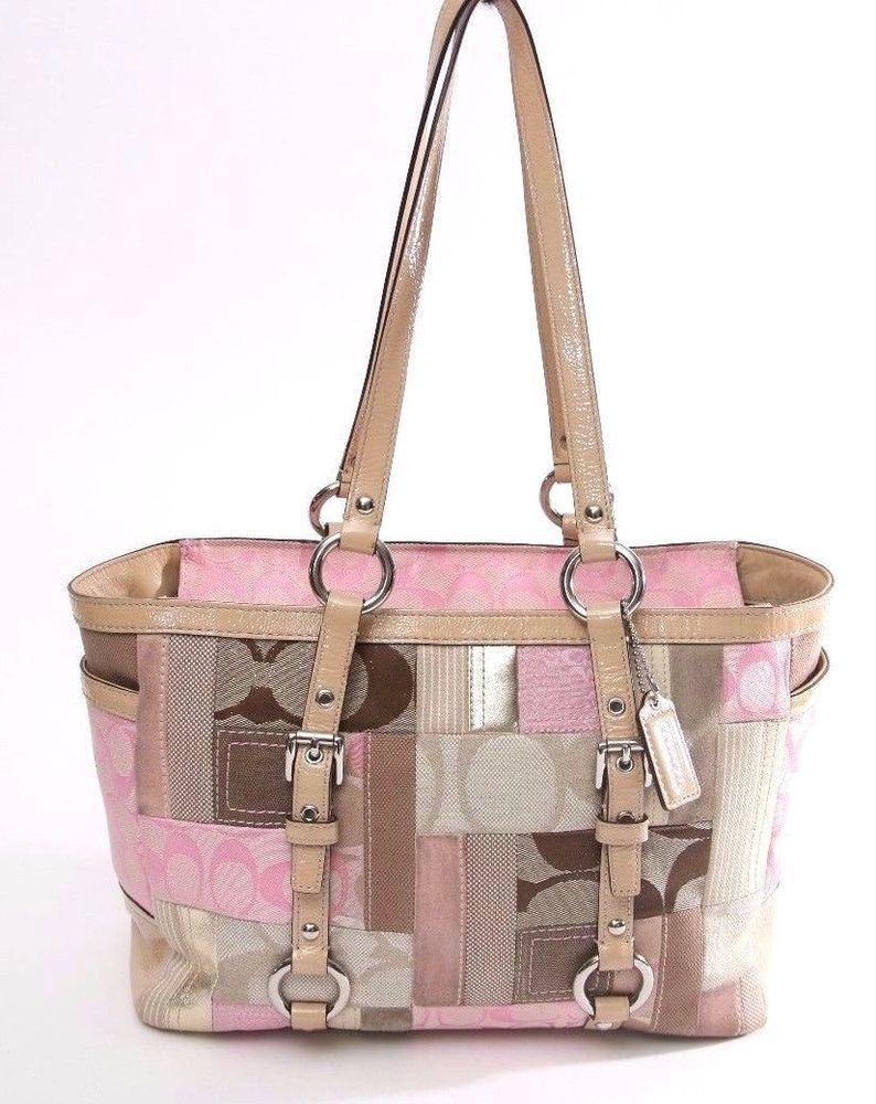 5769220852b4 Coach Pink Beige Brown Signature Patchwork Tote-Shoulder bag-Purse  Coach   TotesShoppers