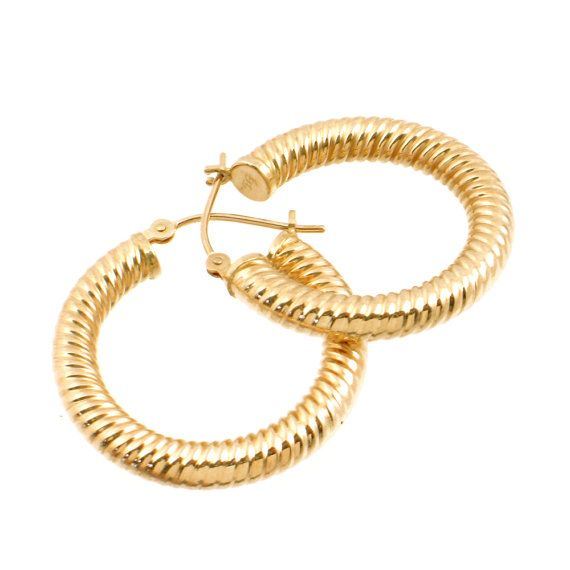 14K Gold Hoop Earrings with Rope Pattern by EncoreJewelryandGems
