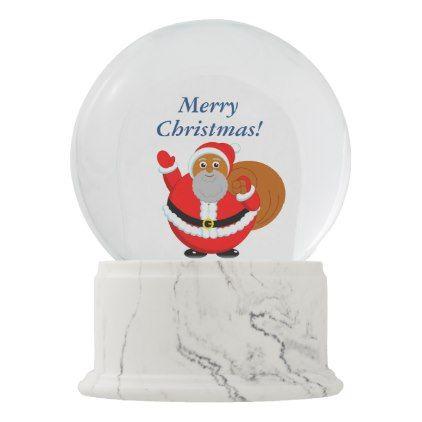 Fun Modern Cartoon Of A Jolly Black Santa Claus Snow Globe Zazzle Com Snow Globes Happy New Year Design Black Santa