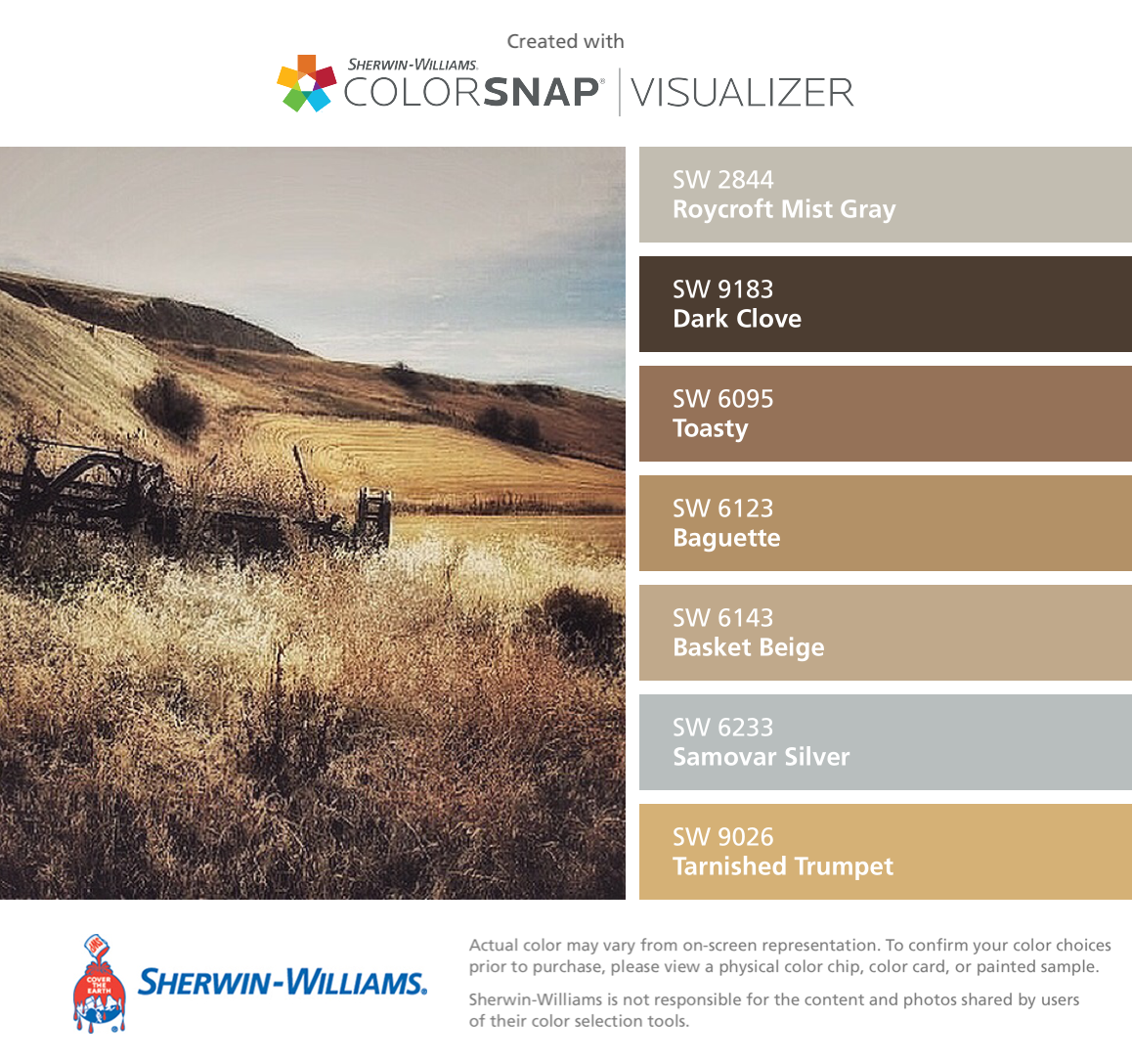 Sherwin williams basket beige photos - I Found These Colors With Colorsnap Visualizer For Iphone By Sherwin Williams Roycroft Mist Gray Sw Dark Clove Sw Toasty Sw Baguette Sw Basket Beige