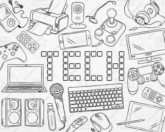 Doodle tecnología Vector Pack Tech Clipart, electrónica Imágenes Prediseñadas, imágenes prediseñadas de Gadget electrónico, computadora Clipart, imágenes prediseñadas de la etiqueta engomada, SVG, archivo PNG #coolelectronics