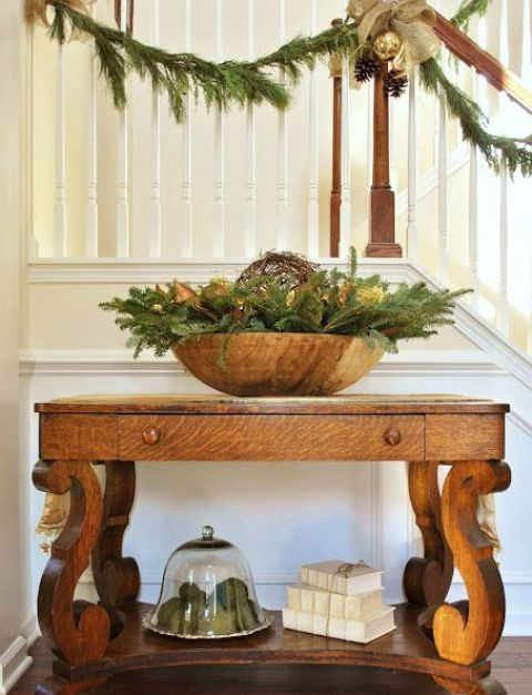 Wooden Bowl Decorating Ideas Interesting Large Wooden Bowl With Fir Branches And Lights Is Enough To Set Up Review