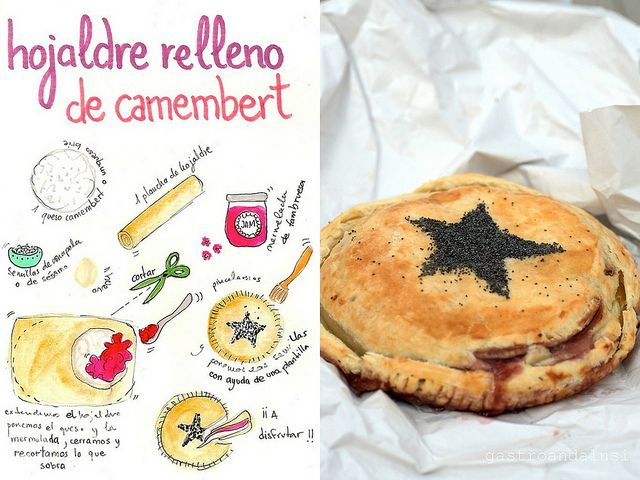 Hojaldre relleno de camembert pastry stuffed with camembert spanish hojaldre relleno de camembert pastry stuffed with camembert spanish food blogger recipes drawing illustrated art forumfinder Image collections