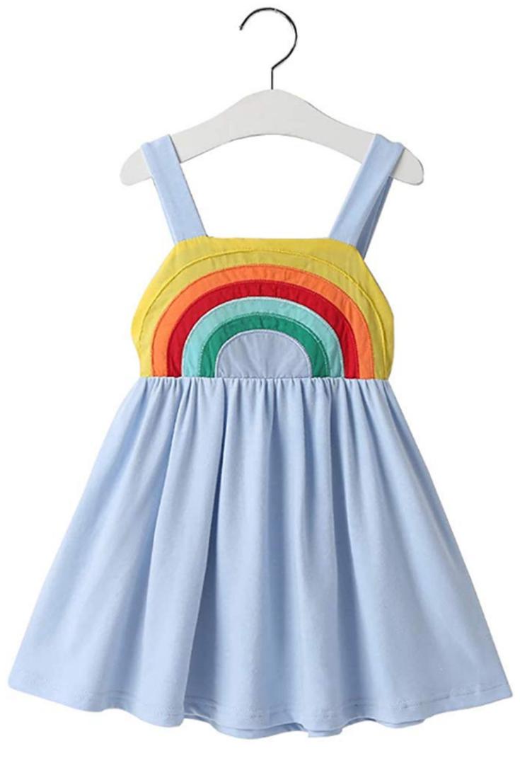 Baby Girl Summer Dress Clothes Rainbow Ruffle Strap Dress Backless Princess Sundress Playwea Summer Dress Outfits Baby Girl Summer Dresses Toddler Girl Outfits