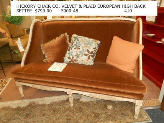 Hickory Chair Co. Velvet and Plaid European High Back Settee www.facebook.com/eliterepeatfurniture