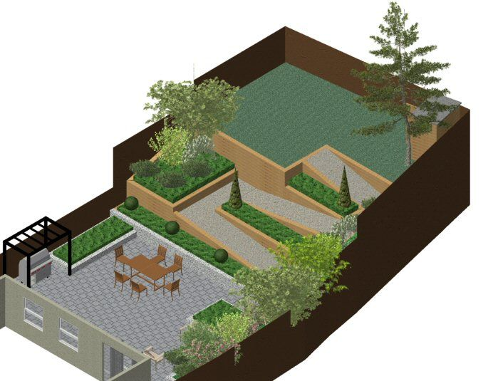 3 d cad model of garden design plan for steeply sloping garden in gerrards cross