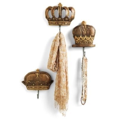 Set of Three Wood Crown Hooks