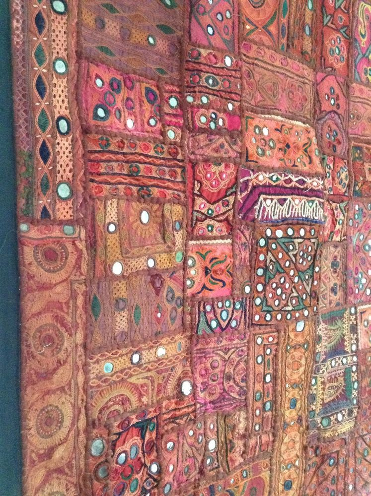 Antique Indian Patchwork Tapestry 3x5 Embroidered Wall Hanging Katchi Mirror Rug