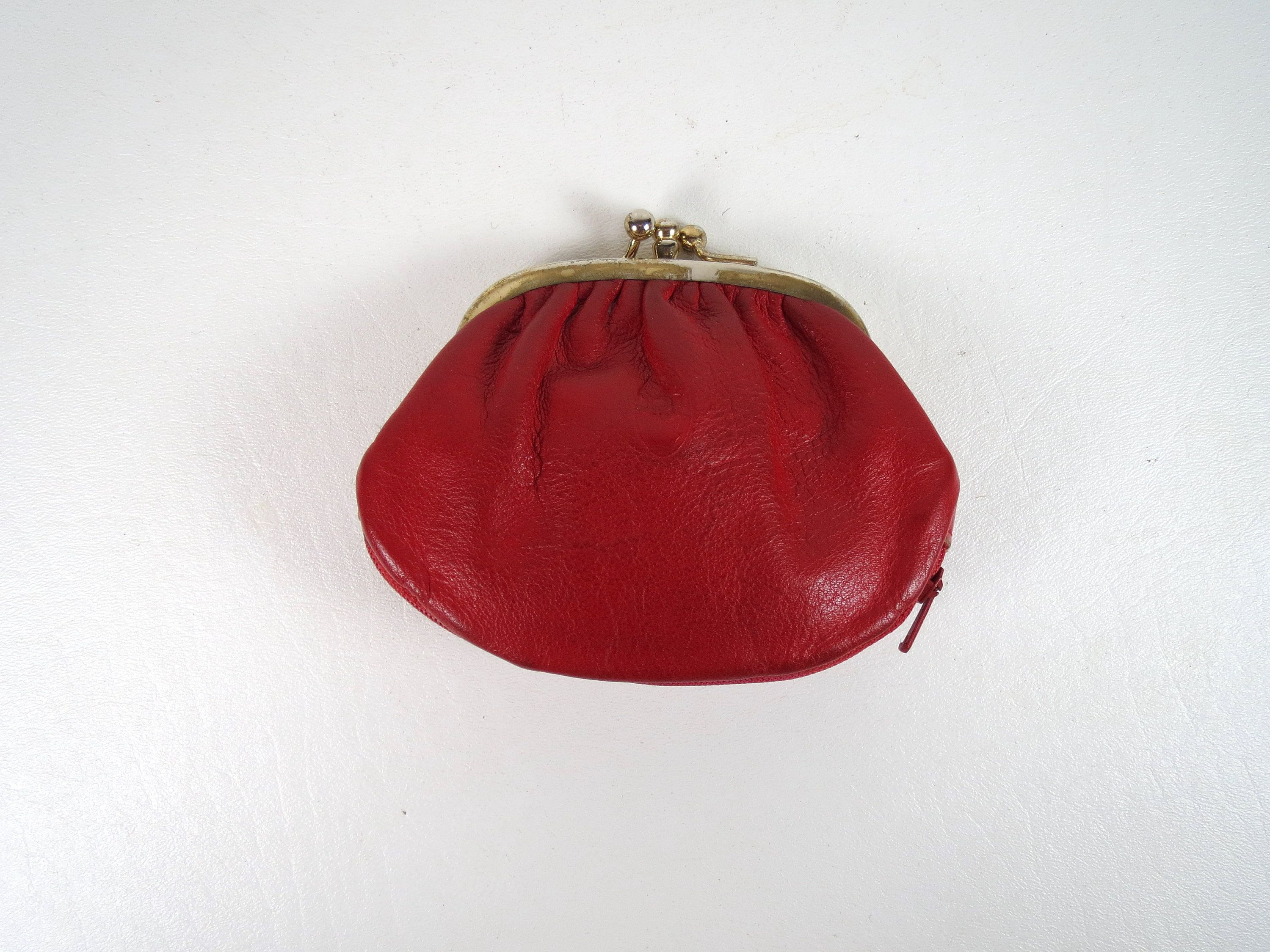 Vtg Red Coin Purse
