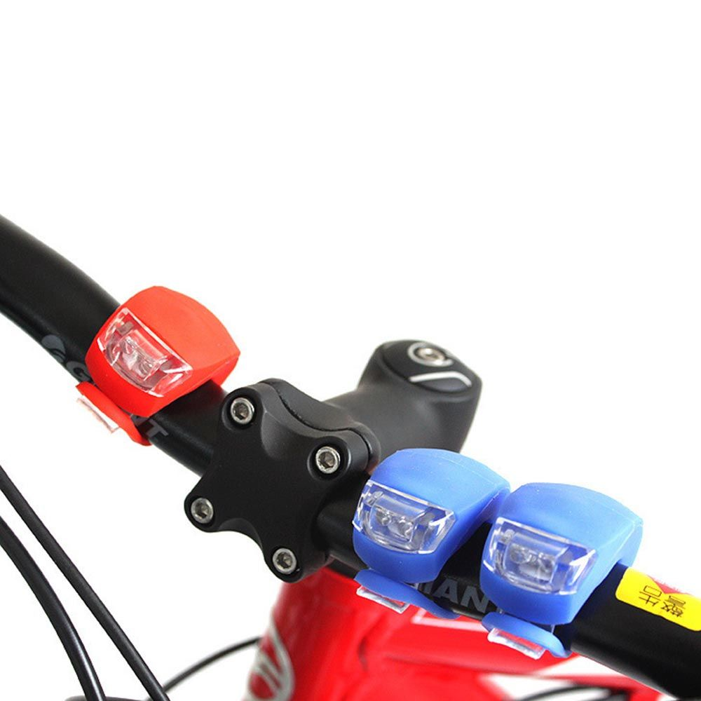 LOT Silicone Bike Bicycle Cycling Head Front Rear Wheel LED Flash Light Lamp