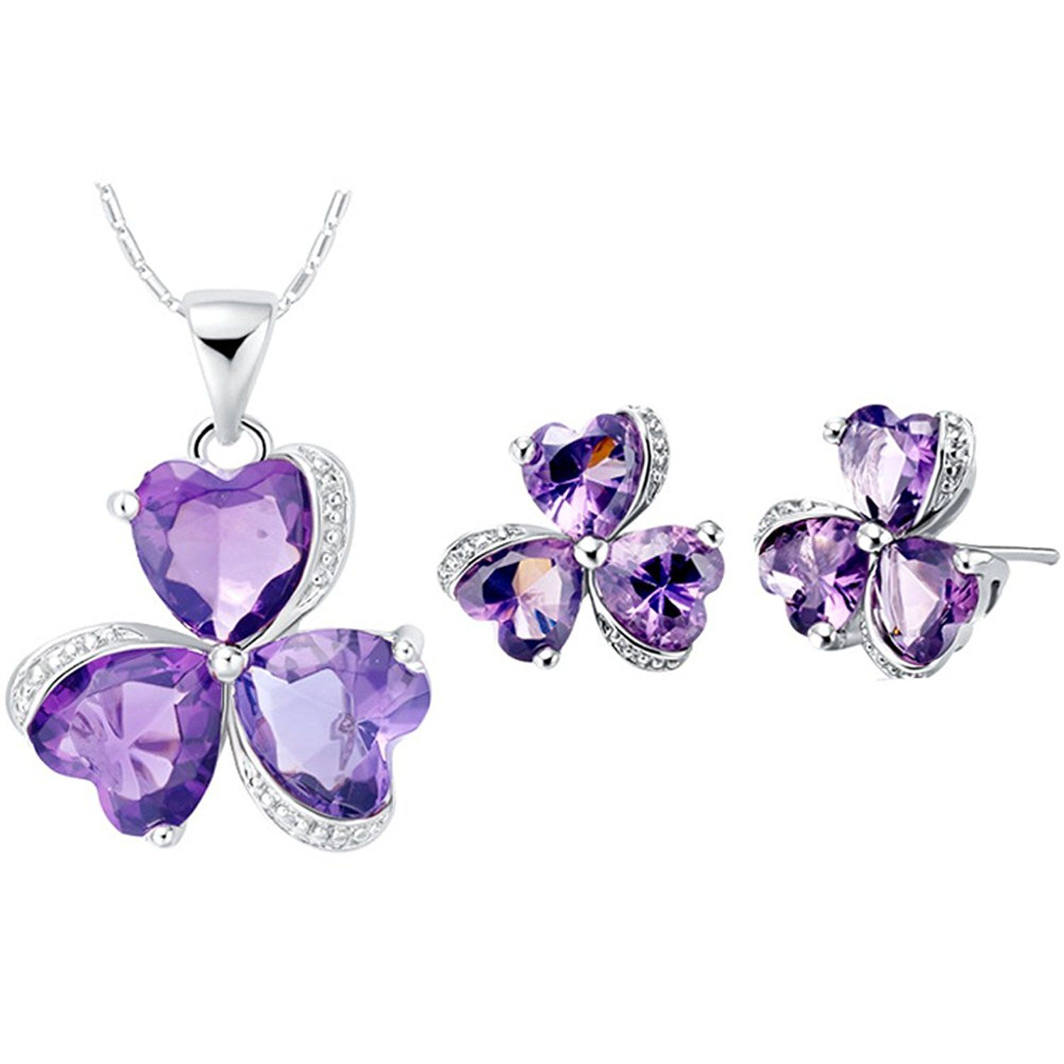 Jewelry sets layla white gold plated crystal bridal pendant