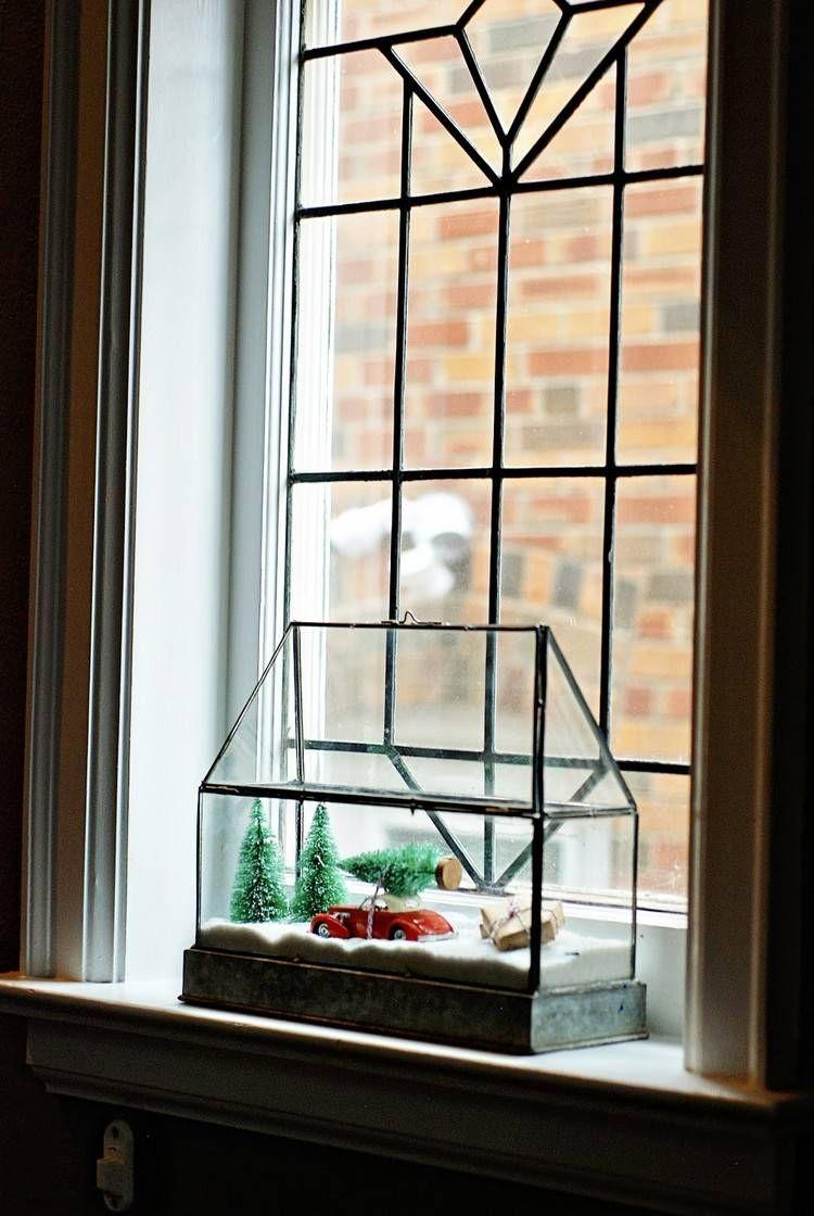 Kleiner winterlandschaft in einem glas gew chshaus - Winterlandschaft deko ...
