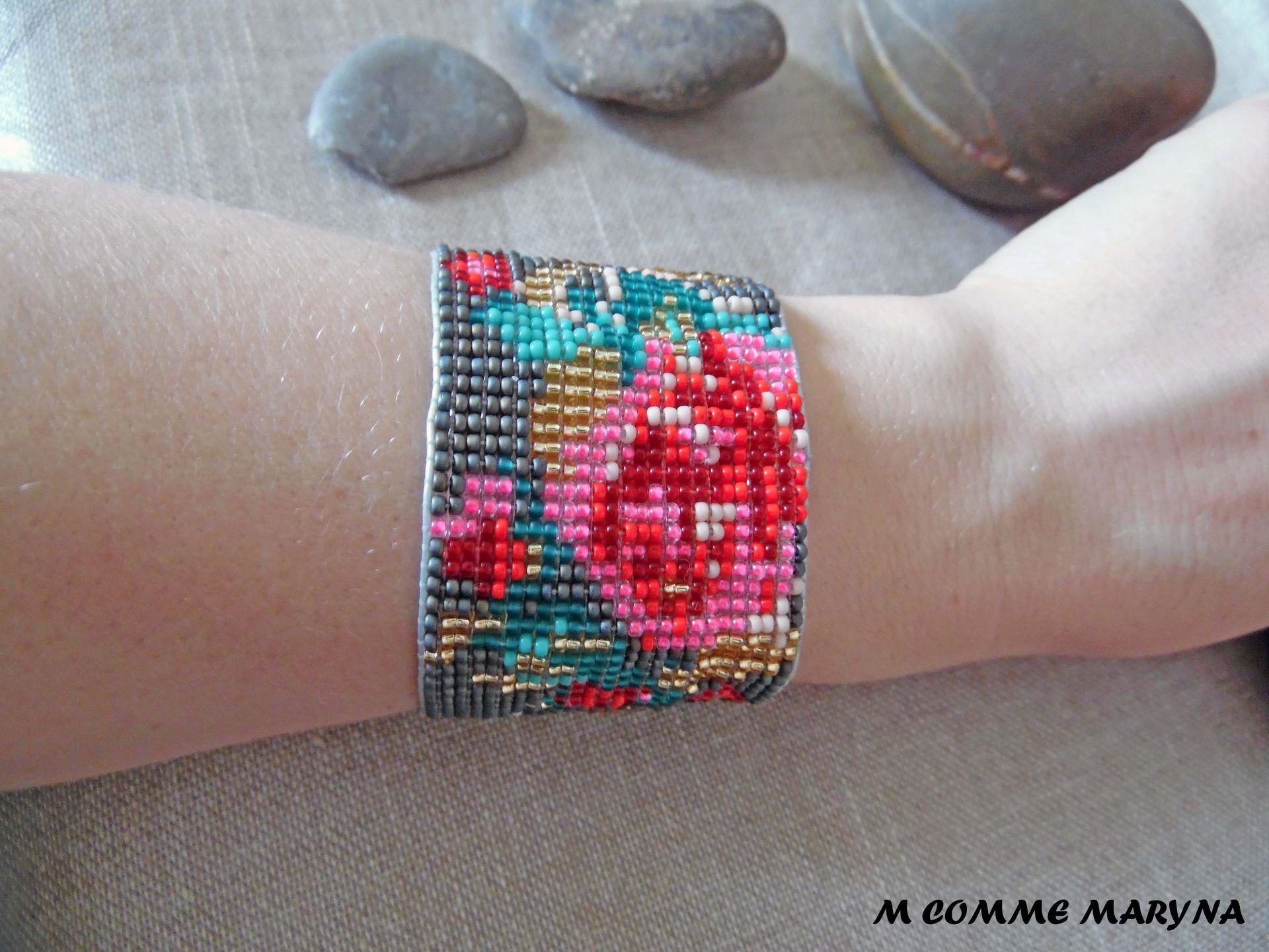 r serv e bracelet manchette lastique perles miyuki fleurs multicouleur boh bracelets. Black Bedroom Furniture Sets. Home Design Ideas
