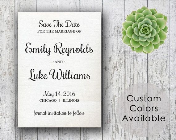 DIY Printable Wedding Save The Date PDF  by MyPrintableCreations
