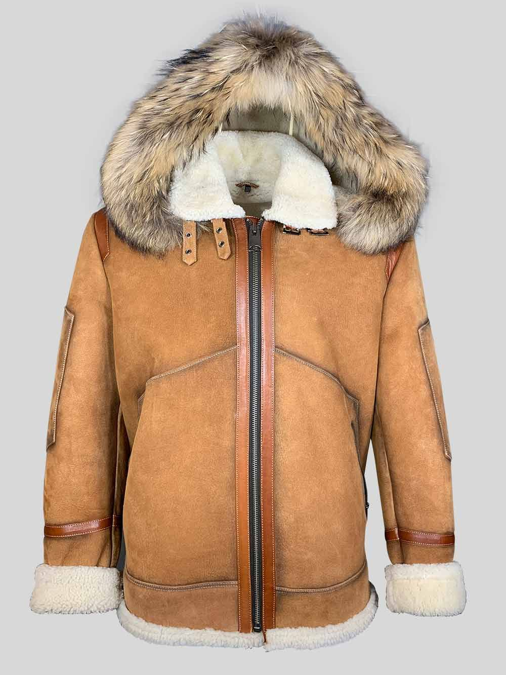 Men's shearling bomber with hood (With images) Leather