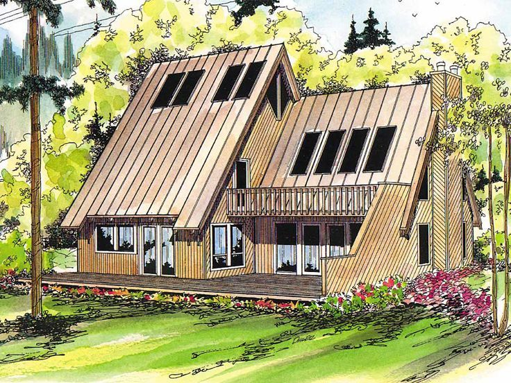 A-Frame House Plan, 051H-0006--- beautiful. love it. would change ...
