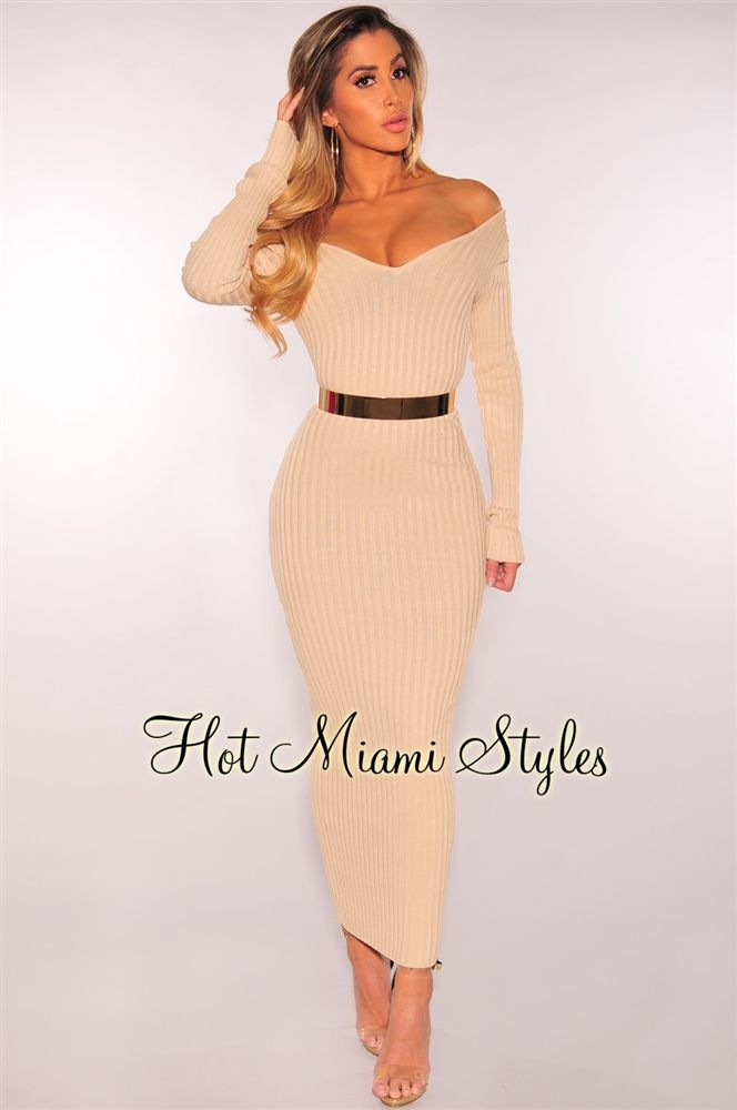 455007a3095 Nude Ribbed Knit Long Sleeves Dress  49.99