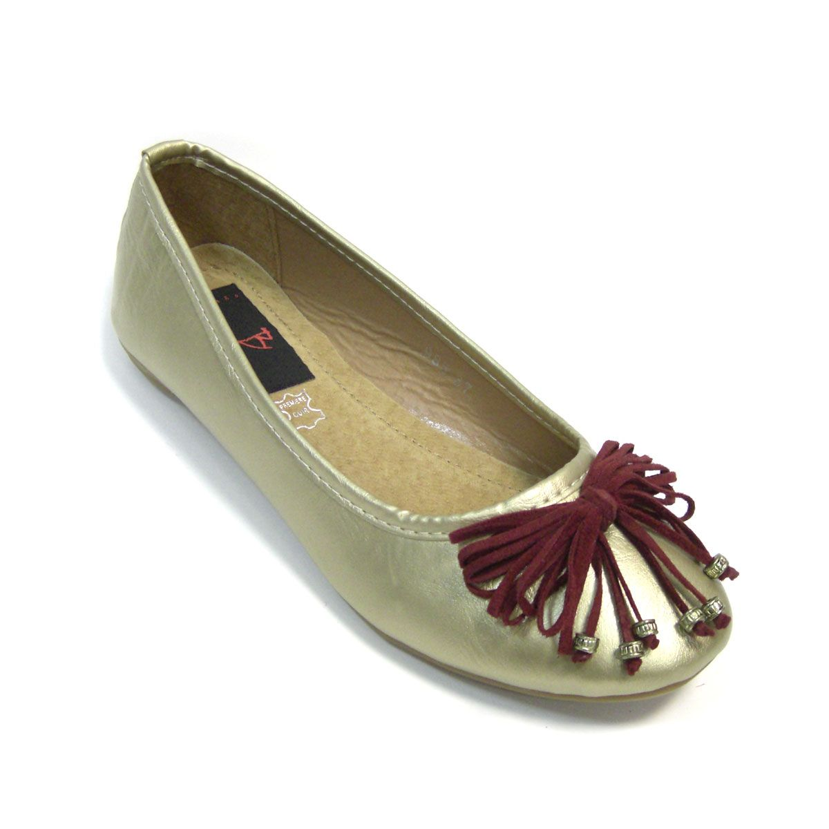 """Golden ballerinas with swede bow """"Zenobia"""" » Befana Complementos. Venta online de complementos de moda"""